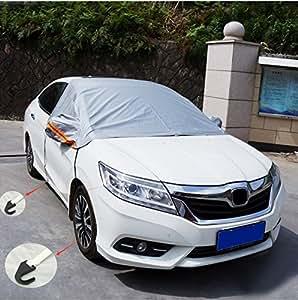 Audew 車用 車体ハーフカバー フロントガラス フロントガラスカバー 凍結防止シート 日よけ 防雨 防塵 凍結防止 積雪対策 冬 風飛び防止 SUV対応 収納袋付 乗用車対応 L(1.5mx1.15mx0.5m)
