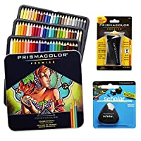 (72 Count Starter Set) - Prismacolor Coloured Pencils Box of 72 Assorted Colours, Triangular Scholar Pencil Eraser and Premier Pencil Sharpener