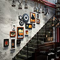 フォトフレーム- レトロ工業用額縁壁|組み合わされた壁掛けフォトフレーム|コリドーリビングルームのために| 13セット (色 : Black-white-brown)