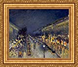 (v14 – 07 – 08 ) Camille pissarro The Boulevard Montmartre at night_フレーム_キャンバス_ Giclee_プリント_ w26.5 _ X h22 >[Small] #11-Gold V14-07K-MD535-01