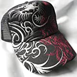 龍トライバル刺繍 メッシュキャップ/龍メッシュキャップ/龍柄キャップ/和柄キャップ/龍/トライバル柄