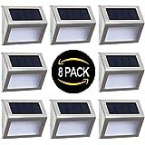Solar Deck Lights Outdoor Solar Step Lights 6 LED Solar Stair Lights Stainless Steel Outdoor Solar Wall Lights Weatherproof O