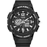 sMaElレディーススポーツ腕時計Quartz Dual Moveメンズt withアナログデジタル表示Watches for Woメンズ ブラック
