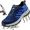 安全靴 作業靴 メンズ レディース セーフティーシューズ 防滑 通気 耐磨耗 衝撃吸収 ウィンジョブ ブルー 37