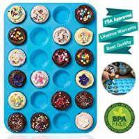 24 Cups Mini Muffin Pan, Amison Silicone Cookies Cupcake Bakeware Tin Soap Tray Mould Non stick, BPA-free, Dishwasher Safe