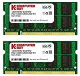 Komputerbay 日本進出記念 メモリ 2枚組 DDR2 800MHz PC2-6400 1GBX2 DUAL 200pin SODIMM ノート パソコン用 増設メモリ 2GB デュアル