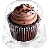 Jumbo Muffin/Cupcake Boxes Single Compartment By Green Direct - Stackable Cupcake Carrier - Plastic Dome Holder - Clear Conta