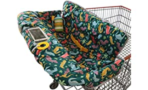 Shopping Trolley Cover for Baby or Toddler - 2-in-1 Highchair Cover - Compact Universal Fit - Modern Unisex Design for Boy or Girl - Includes Carry Bag - Machine Washable - Fits Restaurant High Chair (Dinosaurs)