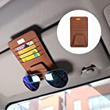 FMS サンバイザーポケット 車用 バイザーポケット カード メガネ 小物収納 多機能車載収納用 (茶色)