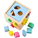 Babe Rock Shape Sorter Toddler Toy Classic Wooden Toy for Baby Boys & Girls Learning Educational Color Sorting Cube Toys for