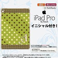 iPad Pro スマホケース カバー アイパッド プロ イニシャル ドット・水玉 緑×茶 nk-ipadpro-1656ini I