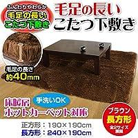 メーカー直販 毛足の長い カーペット ラグマット ホットカーペット対応  こたつ敷きにも使用可能 長方形 190×240cm ブラウン