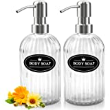 Sungwoo 12 Oz Clear Glass Hand Soap Dispenser with Rust Proof Stainless Steel Pump, Refillable Liquid Soap Dispenser Great fo