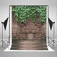 5x7フィートのレンガの壁の写真の背景レンガの床の緑の葉新生児のしわの写真撮影の背景なし