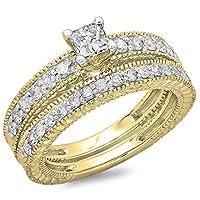 1.10カラットCTW14Kゴールドプリンセスラウンドカットダイヤモンドレディースヴィンテージブライダル婚約リングセット1CT