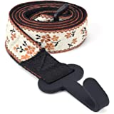 CLOUDMUSIC Ukulele Strap Button Free Hawaiian Floral Ukulele Strap with Hook Clip On For Soprano Concert Tenor Ukulele (Orang
