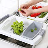 Collapsible Basin Colander Cutting Board 3-in-1 Household Fruit Vegetable Container Drain Basket