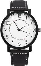 男女通用クォーツ腕時計ラウンドPUストラップビッグダイヤル腕時計(3#)