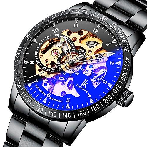 IK Colouring 腕時計 スケルトン ブラックバンド 自動巻き IH009 メンズ...
