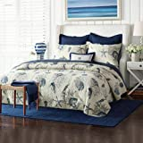 Quilt Bedding Set, Ocean Theme – 3 Piece Bedding Quilt/Reversible Coverlets – 100% Cotton Filling Bed Quilts Quilted(Ocean-yt