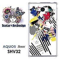 ScoLar スカラー デザインスマホケース シャープ SHARP AQUOS SERIE アクオス スマフォ スマホ スマートフォン スマートホン ケース カバー ジャケット ロックなコラージュ柄 アップル かわいいデザイン ファッションブランド SHV32 scr50472 UV印刷