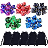 35 Pieces Polyhedral Dice Double-Colors Polyhedral Game Dice for RPG Dungeons and Dragons Pathfinder with 5 Pack Black Pouches, 5 Sets of d20, d12, 2 d10 (00-90 and 0-9), d8, d6 and d4