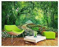 Mbwlkj ファッション三次元装飾的な絵画壁紙紙の森公園緑の陰の道3Dの壁紙風景の背景-400cmx280cm