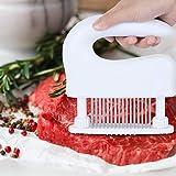 ミートテンダライザー 肉たたき 48刃 ステンレス製 肉筋切り器 キッチン用品 洗浄用ブラシ付き お肉が柔らかくなる調味料が染み込み料理用 (ホワイト)