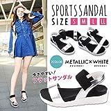 ナイキ ベビーシューズ STARDUST スポーツサンダル スポサン 歩きやすい フラットソール メタリック カラー レディース 夏 靴 シューズ サンダル (23.5cm ホワイト) SD-GG160518-WH-37