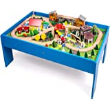 Wooden Train Track Set with Table for Kids Toddlers Creative Play Train Set and Table (108 pcs)