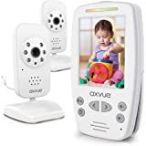"""AXVUE E662 Video Baby Monitor with Two Cameras and 2.8"""" LCD Night Vision Night Light Temperature Detection 2-Way Talk VOX Sou"""