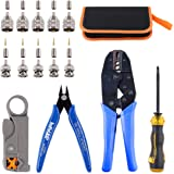 Glarks Coaxial Cable Tool Set, Coax RF Connector Crimping Tool + Coaxial Cable Stripper + BNC/UHF Crimp Male Connectors + Wir
