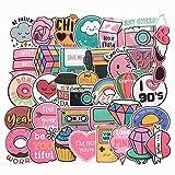 60枚 かわいいピンク コミック 防水ステッカー セットスーツケースステッカー お気に入りのスーツケース 自転車 ヘルメット パソコン 携帯 ノート