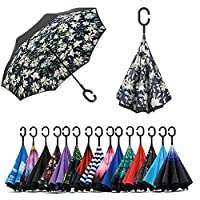 Jooayou Inverted Umbrella 長傘 Reverse Fold Style Umbrella 自立傘 Sunny or Rainy Amphibious, Direction Umbrella 手離re C-Shaped Hands Business Car UV Protection Blackout Thermal Insulated with Umbrella Case