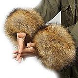 ファーカフス フェイクファー 2個セット 袖口ファー ふわふわ ファー 暖かい 防寒グッズ 毛皮 手首 ブレスレット 防風 風 遮断 MXBR-L