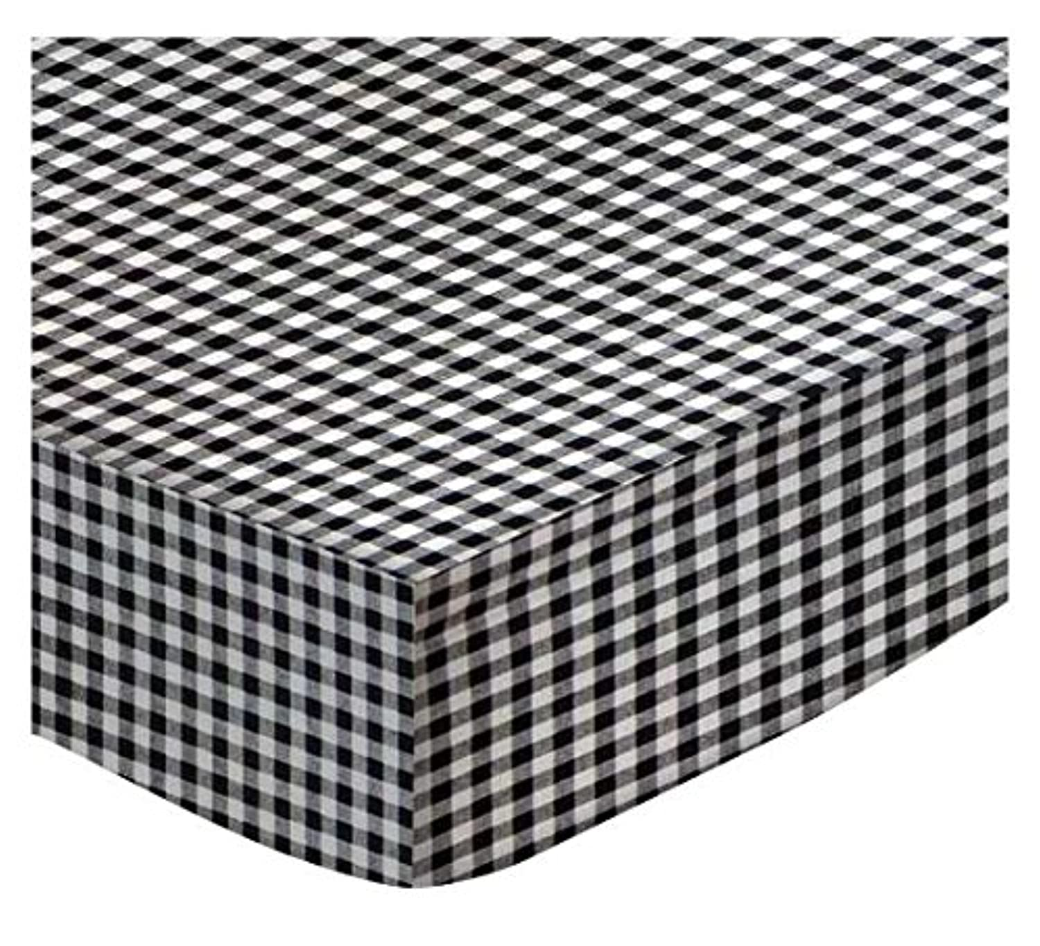 SheetWorld Fitted Cradle Sheet - Black Gingham Check - Made In USA by sheetworld