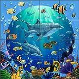 海底アートタイル壁画Backsplash Dolphin探検家II by Jeff Wilkieセラミックキッチンシャワーバスルーム 32