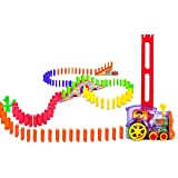 Domino Set Up Train, 80Pcs Domino Train Toy Blocks Set with Lights and Sounds, Creative Christmas Birthday Gifts for Kids
