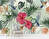 Weaea カスタム壁紙の手描きの熱帯植物は葉フラミンゴのテレビのソファの壁の壁の3D壁紙-450X300Cm