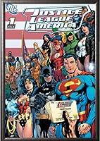 フレーム付きDC Comics ( Justice League of America ) 24x 36ドライマウントポスターシルバー木製フレーム付きアートプリント