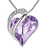 Leafael Infinity Love Heart Pendant Necklace Made with Swarovski Crystals April Birthstone Jewelry Gifts for Women