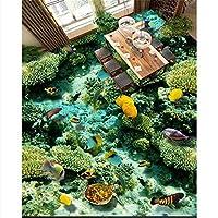 Wapel 3 D ソリッドフロア、キッチン粘着、海洋生物サンゴ、モダンな大型の絵画 250 X 175 cm