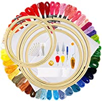 OPount 77 Pieces Full Range of Cross Stitch Starter Kit with 5 Pieces Embroidery Hoop, 50 Color Embroidery Thread, 2...