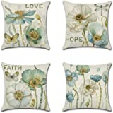 Artscope Set of 4 Decorative Throw Pillow Covers 18x18 Inches, Waterproof Cushion Covers, Perfect to Outdoor Patio Garden Liv