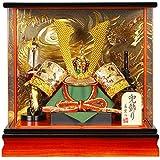五月人形 兜 ケース飾り 長鍬T アクリルパノラマ 王朝/焦茶塗 15号 幅42cm [sb-3-26]