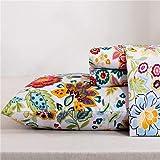 MEISHANG Flower Sheets King Printed BedSheets Ultra Soft 100% Microfiber-Deep Pocket Fitted Sheet+Flat Sheet+Pillowcases-4 Pi