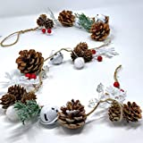 BANBERRY DESIGNS Winter Christmas Garland - Pinecones, Cotton, Pine, Snowflakes, Red Berries - Rustic Farmhouse Christmas Hom
