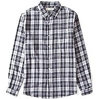 BYLUNTA Men's 100% Cotton Checked Long Sleeve Casual Button Up Sport Shirt Regular Fit (MediumBlack01)