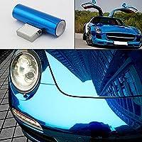 Mr.M 鏡面クロームメッキ調 ラッピングシート カッティングシート ブルー 伸縮ビニール カーボディ ラッピング フィルム 車用 デカール