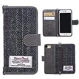 iPhone7ケース アイフォン7ケース 手帳型 MONOJOY アイフォン7カバー ハリスツイードケース Harris tweed iPhone 7ケース ノートブック型毛織物 財布型ケース マグネット式 カード収納 ポケット付き財布型 (グレー)